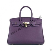 Hermes Birkin 25cm tote clemence leather purple gold hardware