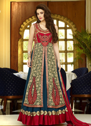 Beige and Teal Blue Floor Length Anarkali suit